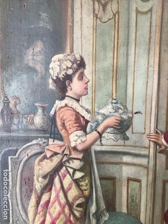Arte: ANTIGUA PINTURA ESPAÑOLA DEL SIGLO 19 , OLEO FIRMADO VALDECARA - Foto 7 - 189573266