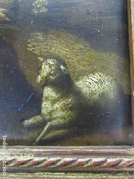Arte: Precioso Óleo sobre Cobre - El Cordero de Dios, Agnus Dei - Escuela Francesa - S. XVII - Foto 5 - 189721850