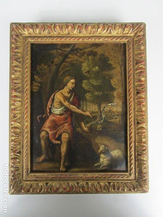 PRECIOSO ÓLEO SOBRE COBRE - EL CORDERO DE DIOS, AGNUS DEI - ESCUELA FRANCESA - S. XVII (Arte - Pintura - Pintura al Óleo Antigua siglo XVII)