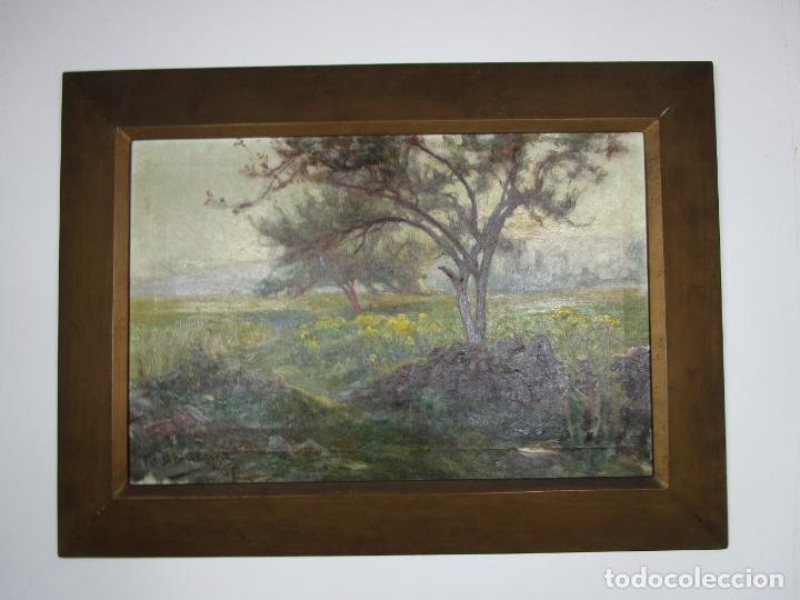 Arte: Melchor Domenge (Olot 1871 - 1939) - Paisaje - Óleo sobre Tela - Alumno Preferido de Vayreda - Foto 3 - 189728813