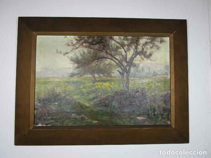 MELCHOR DOMENGE (OLOT 1871 - 1939) - PAISAJE - ÓLEO SOBRE TELA - ALUMNO PREFERIDO DE VAYREDA (Arte - Pintura - Pintura al Óleo Moderna siglo XIX)