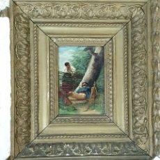 Arte: ESCENA GALANTE. ÓLEO SOBRE TABLA. MARCO DE ÉPOCA. SIGLO XIX. . Lote 189735613