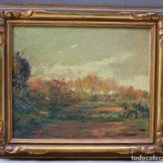 Arte: JOAQUIN ASENSIO, PAISAJE, MOLLET, PINTURA AL ÓLEO SOBRE TELA, CON MARCO. 46X38CM. Lote 189824847