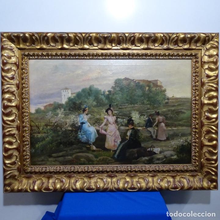 Arte: Excelente óleo sobre tela De Francisco miralles i galup(valencia 1848-1901).pieza de museo. - Foto 2 - 189970271