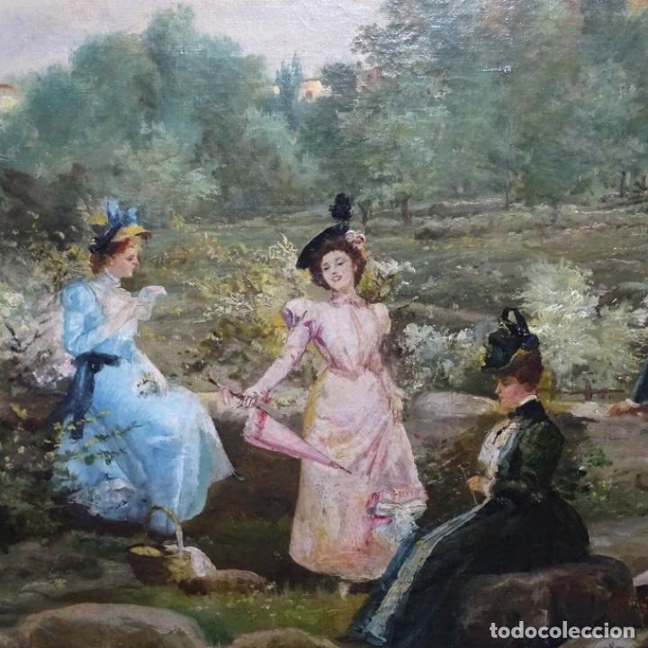 Arte: Excelente óleo sobre tela De Francisco miralles i galup(valencia 1848-1901).pieza de museo. - Foto 5 - 189970271
