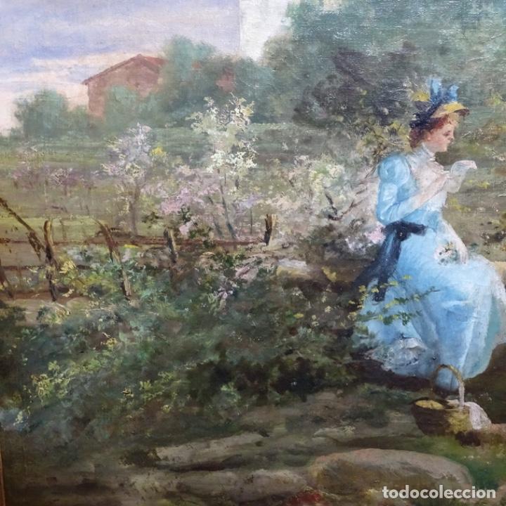 Arte: Excelente óleo sobre tela De Francisco miralles i galup(valencia 1848-1901).pieza de museo. - Foto 6 - 189970271