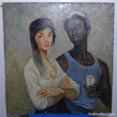 Arte: GRAN OLEO SOBRE TELA ILEGIBLE.FILIPINA Y NEGRITO.GRAN CALIDAD.. Lote 189973211