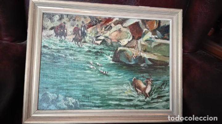 CACERÍA DE CIERVOS ÓLEO SOBRE LIENZO FIRMADO LEWIS (Arte - Pintura Directa del Autor)