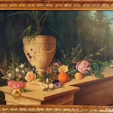 Arte: R. SANCHIS TOMÁS, ESCUELA ESPAÑOLA ,BODEGON DE FLORES ,OLEO SOBRE LIENZO 100 X 60. 1900 -1910. Lote 190011842