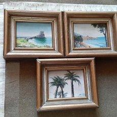 Arte: LOTE CON 3 CUADROS PINTADOS AL OLEO Y FIRMADOS EN MINIATURA CON PAISAJES . Lote 190108821