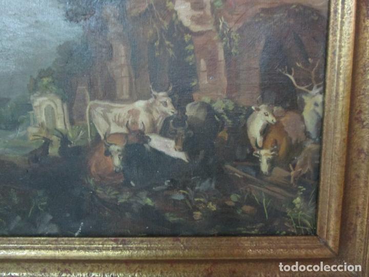 Arte: Antigua Pintura - Escuela Flamenca - Paisaje con Ganado, Reflejos de Sol - S. XVIII - Foto 2 - 190149192
