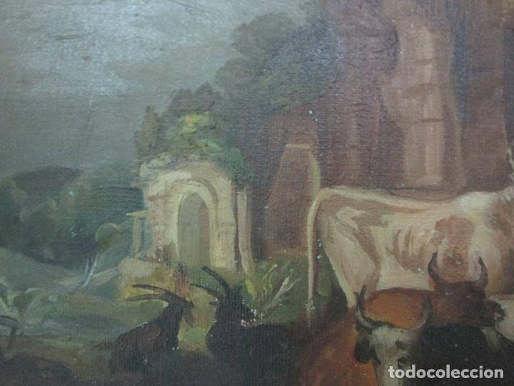 Arte: Antigua Pintura - Escuela Flamenca - Paisaje con Ganado, Reflejos de Sol - S. XVIII - Foto 4 - 190149192