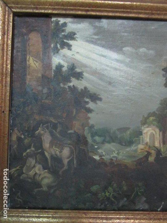 Arte: Antigua Pintura - Escuela Flamenca - Paisaje con Ganado, Reflejos de Sol - S. XVIII - Foto 6 - 190149192