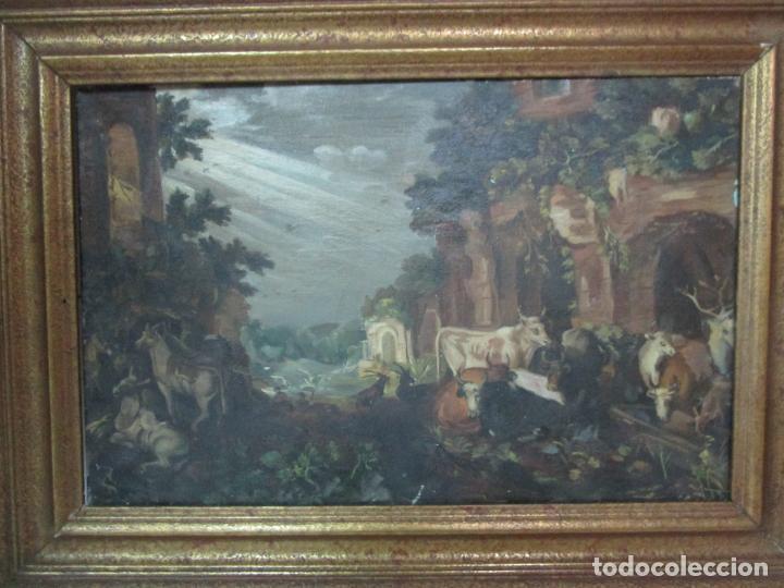 Arte: Antigua Pintura - Escuela Flamenca - Paisaje con Ganado, Reflejos de Sol - S. XVIII - Foto 7 - 190149192