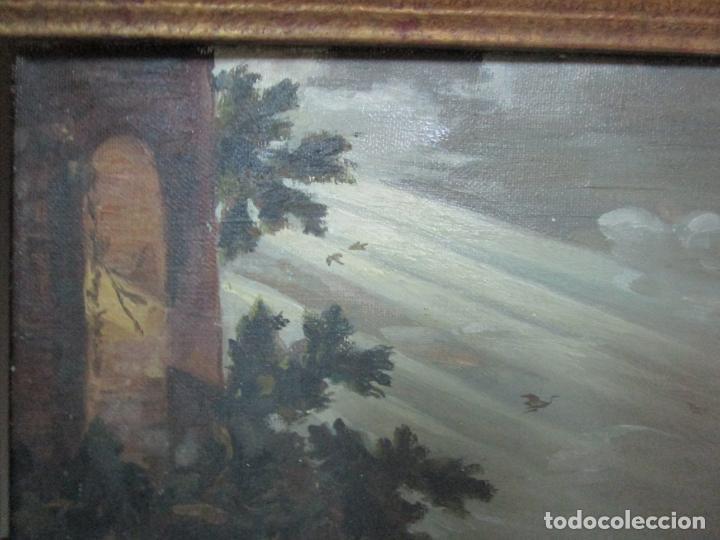 Arte: Antigua Pintura - Escuela Flamenca - Paisaje con Ganado, Reflejos de Sol - S. XVIII - Foto 8 - 190149192