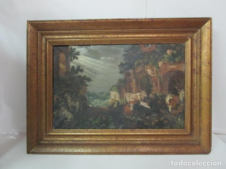 Arte: Antigua Pintura - Escuela Flamenca - Paisaje con Ganado, Reflejos de Sol - S. XVIII - Foto 9 - 190149192