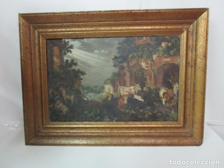 Arte: Antigua Pintura - Escuela Flamenca - Paisaje con Ganado, Reflejos de Sol - S. XVIII - Foto 14 - 190149192