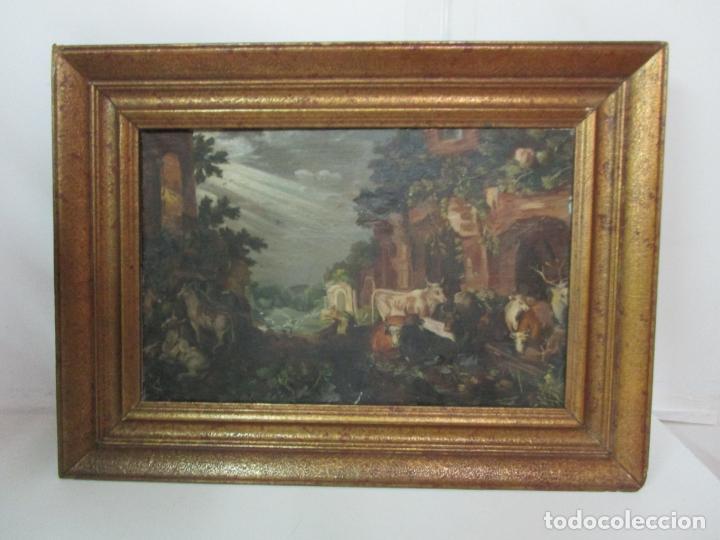 ANTIGUA PINTURA - ESCUELA FLAMENCA - PAISAJE CON GANADO, REFLEJOS DE SOL - S. XVIII (Arte - Pintura - Pintura al Óleo Antigua siglo XVIII)