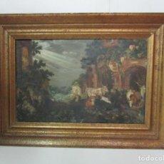 Arte: ANTIGUA PINTURA - ESCUELA FLAMENCA - PAISAJE CON GANADO, REFLEJOS DE SOL - S. XVIII. Lote 190149192
