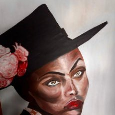 Arte: RETRATO. MUJER AFRICANA. ÓLEO SOBRE LIENZO. 100 CM / 75 CM. Lote 190149762