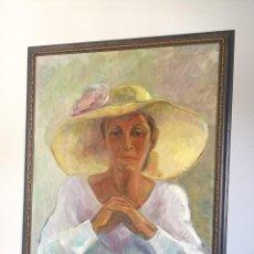 Arte: ELENA LAVERON RETRATO DE MUJER EN OLEO SOBRE LIENZO. Lote 190169268