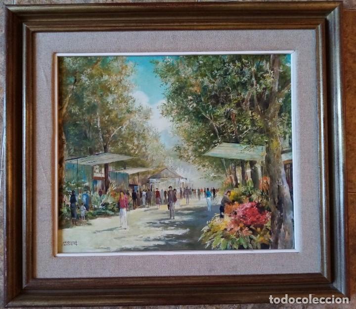 CUADRO OLEO ORIGINAL LAS RAMBLAS BARCELONA - JOAN ALBERT (1919-?) - 65X75 CMTS RECOGIDA LOCAL (Arte - Pintura - Pintura al Óleo Contemporánea )