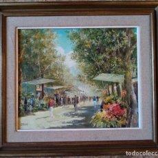 Arte: CUADRO OLEO ORIGINAL LAS RAMBLAS BARCELONA - JOAN ALBERT (1919-?) - 65X75 CMTS RECOGIDA LOCAL. Lote 190226251