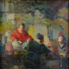 Arte: RAMON CALSINA (1901-1992) ÓLEO SOBRE LIENZO ESCENA MERCADO FIRMADO. Lote 190286853