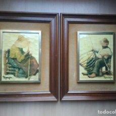 Arte: RAMÓN POVEDA IBARS- PAREJA BODEGONES DE CAMPESINOS. Lote 190316172