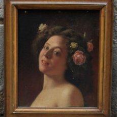 Arte: RETRATO DE MUJER CON FLORES, PINTURA AL ÓLEO SOBRE TABLA, SIN FIRMAR, CON MARCO. 45X37CM. Lote 190323820