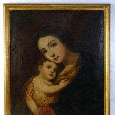 Arte: ÓLEO SOBRE LIENZO VIRGEN CON NIÑO ESCUELA ESPAÑOLA FINALES SIGLO XVII. Lote 190377211