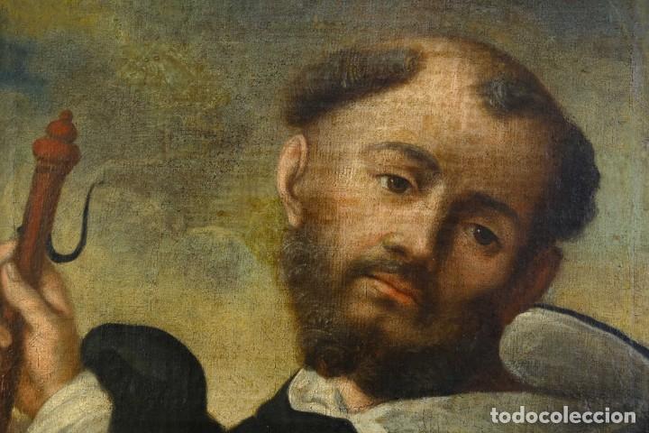Arte: Óleo sobre lienzo Franciscano Escuela española siglo XVII - Foto 2 - 190377222