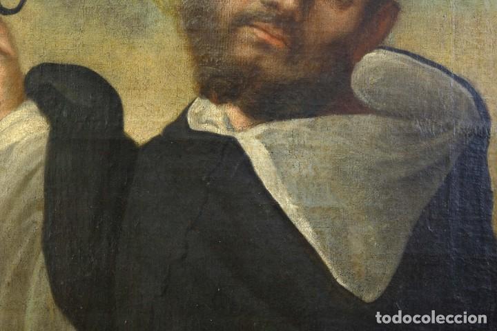 Arte: Óleo sobre lienzo Franciscano Escuela española siglo XVII - Foto 3 - 190377222
