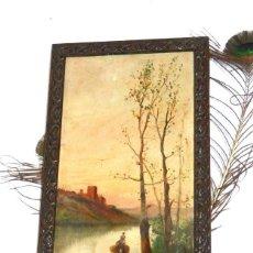 Arte: ANTIGUO ÓLEO TELA XIX, PINTURA VALENCIANA XIX, PAISAJE IMPRESIONISTA. Lote 190438238