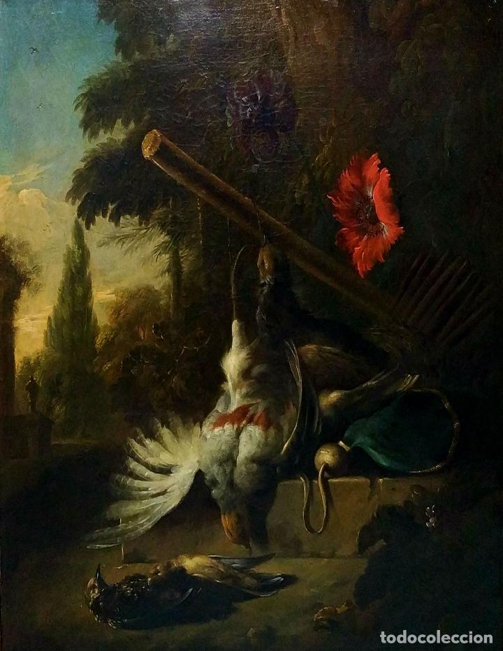 NATURALEZA MUERTA Y PAISAJE. ÓLEO SOBRE LIENZO. ATRIBUIDO JAN WEENIX. PAISES BAJOS. SIGLO XVII (Arte - Pintura - Pintura al Óleo Antigua siglo XVII)