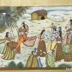 Arte: MARFIL PINTADO AL OLEO INDÚ. Lote 190458765