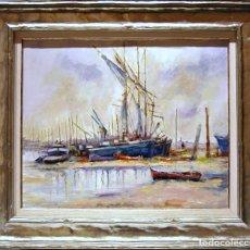 Arte: RICARDO QUIROGA BARCELONA 1.959 ÓLEO SOBRE LIENZO, BARCOS VARADOS EN LA PLAYA.. Lote 190528792