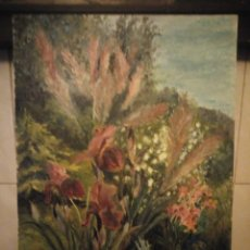 Arte: PRECIOSO OLEO SOBRE TABLA,FLORES CAMPESTRES FIRMADO C. GUY. E, 1985. Lote 190578492