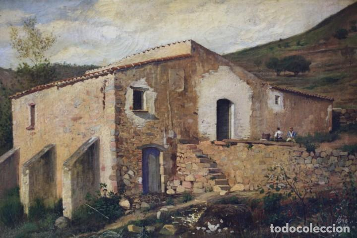 Arte: Manuel Cuyàs Agulló, paisaje rural con casa, siglo XIX, pintura al óleo sobre tela, con marco. - Foto 2 - 190704876