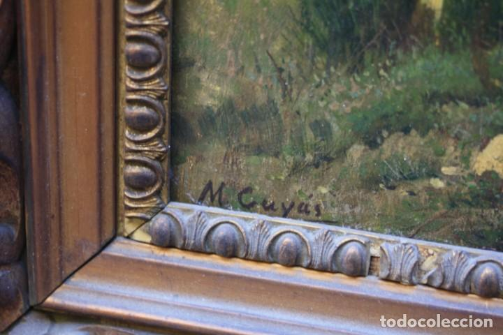 Arte: Manuel Cuyàs Agulló, paisaje rural con casa, siglo XIX, pintura al óleo sobre tela, con marco. - Foto 3 - 190704876