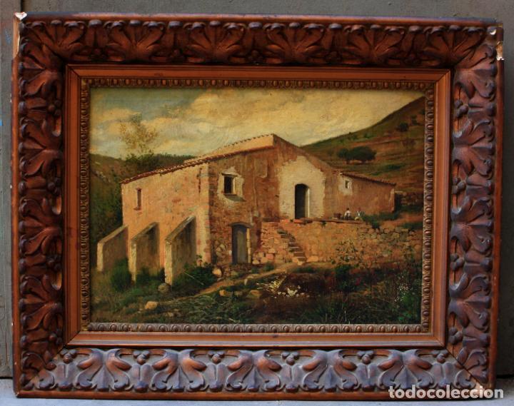 MANUEL CUYÀS AGULLÓ, PAISAJE RURAL CON CASA, SIGLO XIX, PINTURA AL ÓLEO SOBRE TELA, CON MARCO. (Arte - Pintura - Pintura al Óleo Moderna siglo XIX)