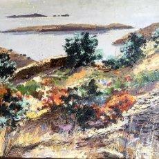 Arte: JORDI PAGANS MONSALVATJE (BARCELONA 1932-2017) ÓLEO CON PAISAJE TITULADO ILLA PORT LLIGAT. Lote 190721810