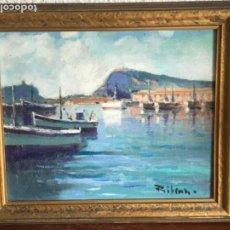 Arte: OLEO SOBRE LIENZO FIRMADO RIVERA VISTA DEL PUERTO DE BARCELONA PESCADORES.. Lote 190722583