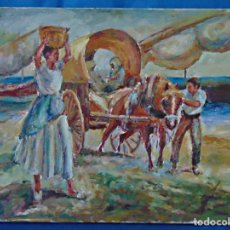 Arte: OLEO SOBRE LIENZO ESCENA COSTUMBRISTA. 46 X 39 CM.. Lote 190759116