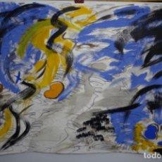 Arte: GRAN ÓLEO ORIGINAL Y TÉCNICA MIXTA SOBRE CARTULINA ANÓNIMO.ABSTRACTO.BUEN TRAZO,MAESTRO.. Lote 190783097