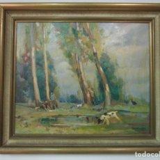 Arte: ÓLEO SOBRE TELA - RAMÓN BARNADAS (OLOT 1909 - GIRONA 1981) - PAISAJE - ESCUELA DE OLOT - AÑO 1943. Lote 190794787