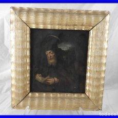 Arte: ANTIGUO CUADRO DE COBRE AL OLEO DE SAN JERONIMO S. XVIII. Lote 190809255