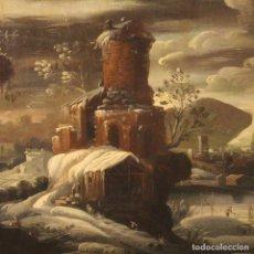Arte: PINTURA ITALIANA ANTIGUA PAISAJE CON PERSONAJES DEL SIGLO XVIII. Lote 190814978
