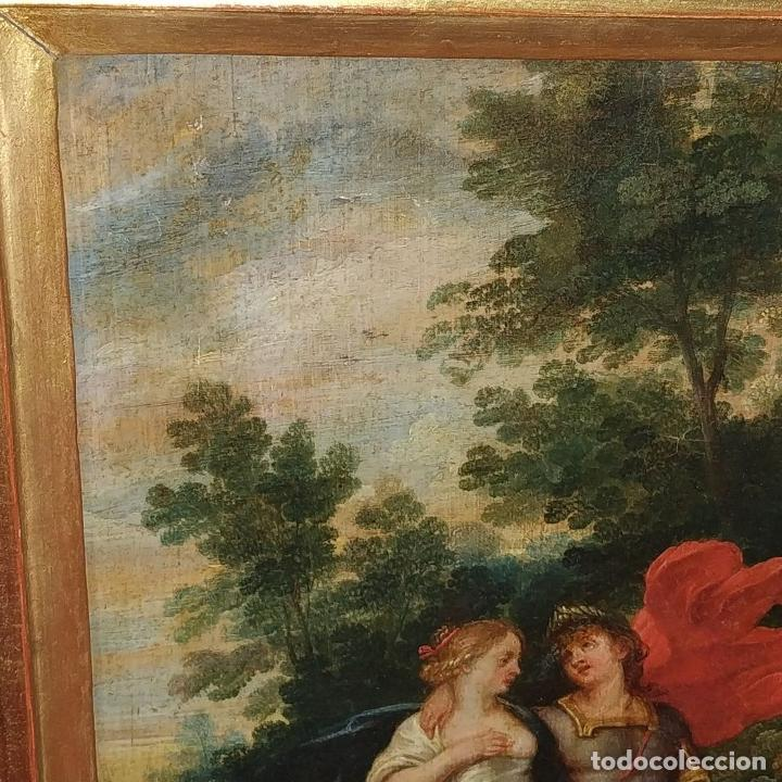 Arte: RINALDO Y ARMIDA. ÓLEO SOBRE MADERA. ESCUELA FRANCESA (?). SIGLO XVII - Foto 3 - 190925166