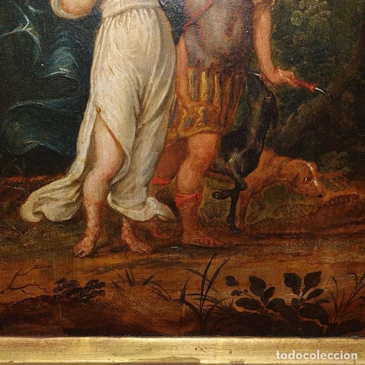 Arte: RINALDO Y ARMIDA. ÓLEO SOBRE MADERA. ESCUELA FRANCESA (?). SIGLO XVII - Foto 12 - 190925166